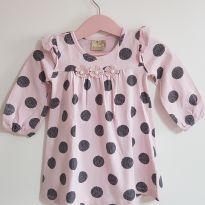 Vestido rosa com bolinhas - 6 a 9 meses - Milon