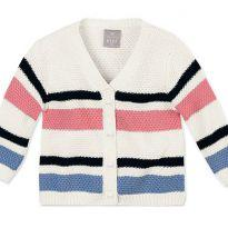 Cardigan trico listras - 1 ano - Hering Kids