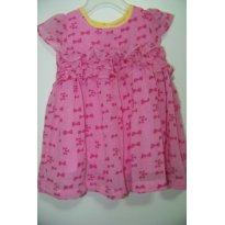 0184-Primavera e Verão: Vestido rosa de lacinhos e poá amarelo com babados - 9 a 12 meses - Teddy Boom
