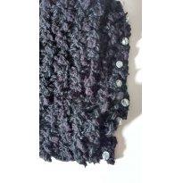 0489-Outono e Inverno: Cachecol curtinho preto com bolinhas frutacor - Sem faixa etaria - Artesanal