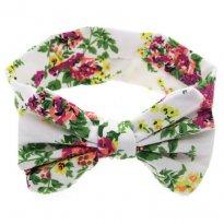 0529-Laço/Tiara branca floral em tecido -  - Não informada
