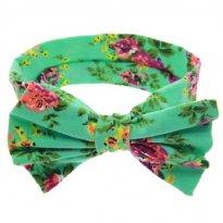 0523-Laço/Tiara verde em tecido -  - Não informada