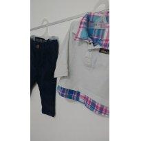 0597-Conjunto manga longa e calça veludo Teddy boom - 3 a 6 meses - Teddy Boom