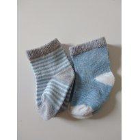 0628-Dois pares de meias azul bebê - 0 a 3 meses - Não informada