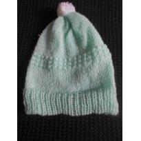 0692-Touquinha em lã verde água - Recém Nascido - Artesanal