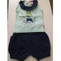 0862-Conjuntinho de Camiseta Bailarina e shorts - 3 a 6 meses - Abrange