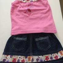 0860-Conjunto regata e Mini saia jeans com barra florida - 3 a 6 meses - Não informada