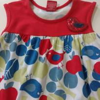 0878-Vestido pássaros - 12 a 18 meses - Kyly