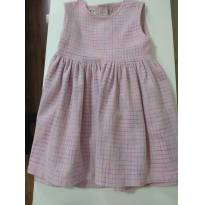 0880-Vestido rosa quadriculado - 12 a 18 meses - Pump