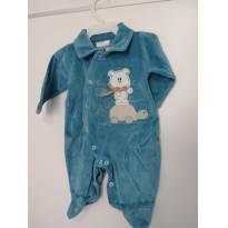 1132-Macacão em plush azul - 0 a 3 meses - Travessu