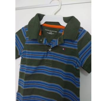 1144-Camisa polo listrada Tommy - 1 ano - Tommy Hilfiger