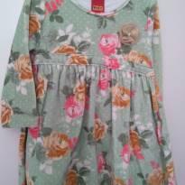 1491-Vestido verde floral manga longa - 24 a 36 meses - Kyly