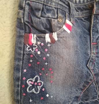 1553-Saia jeans bordada - 3 anos - Chicco