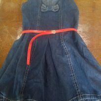 1708-Vestido jeans com cinto - 4 anos - Não informada