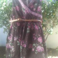 1711-Vestido floral marrom - 3 anos - Bellucci