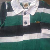 1738 - Macacão listrado em tons de verde, marinho e branco. - Recém Nascido - Aconchego do Bebê