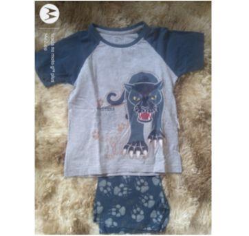 1770 - Pijama azul felino - 24 a 36 meses - Cara de Criança