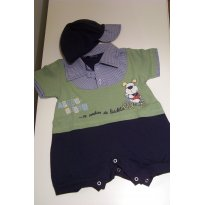 0058-Primavera e verão: Macaquinho azul e verde com boné - 0 a 3 meses - Não informada