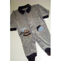 0069-Macacão em plush cinza e marinho - Recém Nascido - Anjos baby