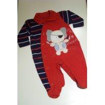 0071-Macacão vermelho e azul - Elefantinho Pirata - Recém Nascido - Não informada
