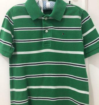 Camisa Polo Tommy verde listrada tam 6/7 anos - 6 anos - Tommy Hilfiger