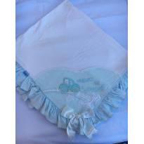 Manta Branca com babados Azul - Sem faixa etaria - Paraíso
