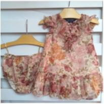 Vestido florido com babado - 9 meses - Ralph Lauren