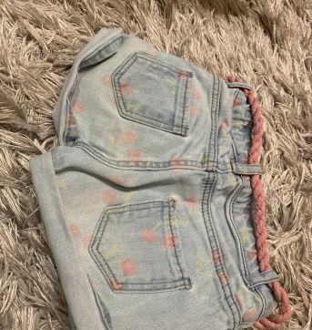 Shorts jeans- cerejinha - 18 a 24 meses - Zara Baby