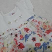 Vestido na cor creme com flores - 9 a 12 meses - Brandili