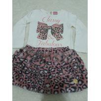 Conjunto de saia de pelinho e body manga longa tema lacinho todo de strass - 18 a 24 meses - Momi