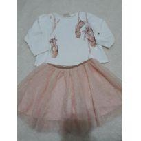 Conjunto de saia de tule com pontinhos de brilho dourado e blusinha bailarina - 18 a 24 meses - Zara Baby