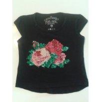 Camiseta Bordada Flor de Primavera - 12 a 18 meses - Pool Kids