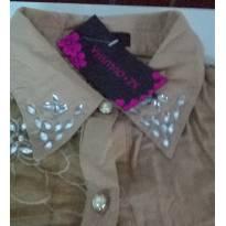 blusa de manga curta customizada com pedrarias e renda - GG - 48 em diante - Não informada