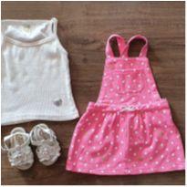 Vestido Rosa de Bolinhas com sandália look bebê - 9 meses - Carter`s