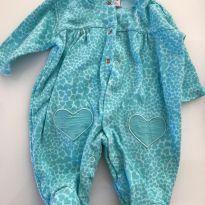 Macacão Verde com coração - 0 a 3 meses - Baby fashion