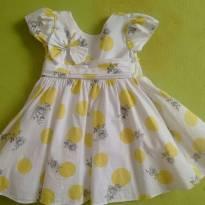 Vestido poá e floral branco - 1 ano - Sapequinha