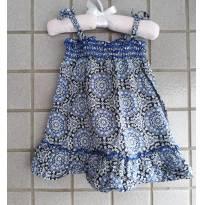 Vestido Estampa Azul - 9 a 12 meses - Não informada