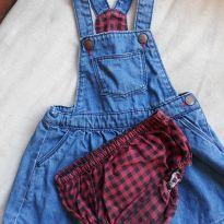 Vestido jardineira jeans - 12 a 18 meses - Zara Baby