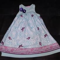 Vestido rosa e azul estampado - 4 anos - Turma da Malha