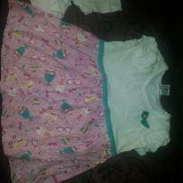 Vestido de festa Branco com Rosa com detalhes verde piscina - 3 anos - PIMENTINHA KIDS
