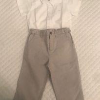 Calça / Body camisa - 9 a 12 meses - Bompoint  - USA e Baby Cottons