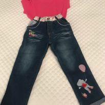 Calça Jeans com apliques/ Camiseta - 3 anos - Cat & Jack