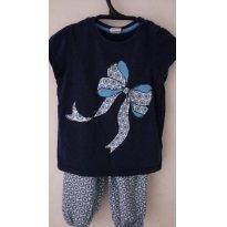 Conjunto Calça Pantalona e Camiseta Azul Importado - 12 a 18 meses - H&M