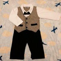 Macacão Body Infantil - Estilo Vintage - com colete e gravata borboleta - 9 a 12 meses - Não informada