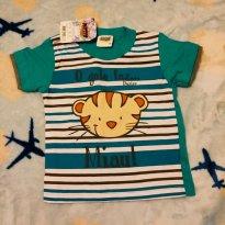 Camiseta Verde com estampa Tigre - 9 a 12 meses - Duzizo