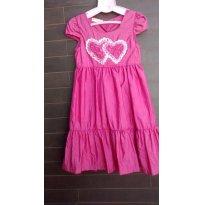 Vestido Festa, Pink com Detalhes de Coração - 7 anos - Fort Fashion