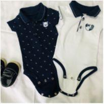 Kit 2 bodies polo P + tênis - 0 a 3 meses - Pimpolho e Tigor Baby