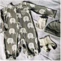 Kit macacão elefantinho gorro luva meia Rn carters - Recém Nascido - Carter`s