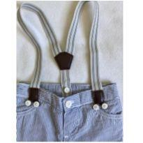 Calça listrada com suspensório - 6 a 9 meses - Baby B'gosh