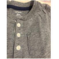 Camiseta manga longa cinza - carters 6 meses - 6 meses - Carter`s